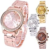 Zuionk Fashion Ladies Women Girl Unisex Stainless Steel Analog Quartz Wrist Watch Relojes de pulsera
