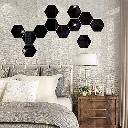 Hexagon spiegel wandaufkleber 3d acryl gespiegelt dekorative aufkleber wasserdicht wohnkultur wandbild