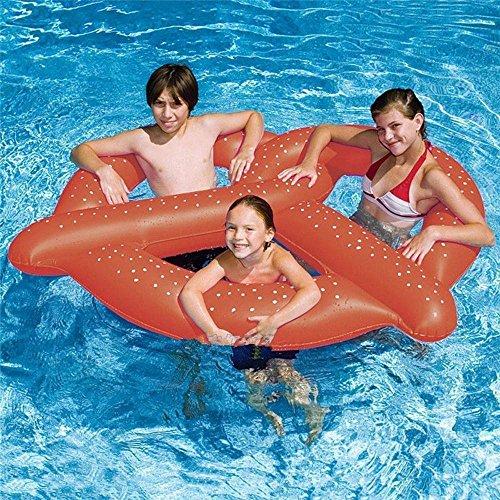 chwimmt für Kinder Erwachsene Brezel Schlauchboot Schwimmbad Wassersport Cartoon-Schwimmring Schwimmkissen Wasserspielzeug für Sommerferien Pool-Party Reise, 130 x 140 cm ()
