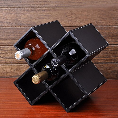YXQ MDF + Leder weiß/schwarz/braun Desktop Modern minimalistische dekorative Racks Keine Notwendigkeit, Bequeme Lagerung 4 Farben 2 Modelle erhältlich 5-8 Flaschen für Jede Szene zu montieren Wein - Stoff-display-racks