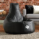 i-eX® Gaming Chair - Black - Faux Leather Gaming Bean Bag - Video Gaming Entertainment Chair (Black)