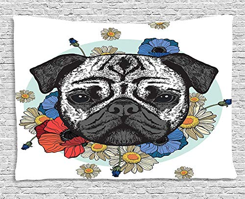 Art 104 Daisy (MLNHY Pug Tapestry, Black and White Head of a Pug on Floral Arrangement with Beautiful Flowers Daisies, Wall Hanging for Bedroom Living Room Dorm, 80 W X 60 L Inches, Red Blue Black)