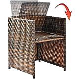 Merax Poly Ratten Gartenmöbel Set klappbare Essgruppe mit 10 Sitzplätzen (6+4+1) - 8