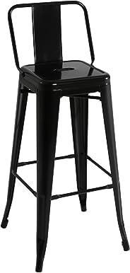 Kit Closet 5020519022 - barkruk met rugleuning, metaal, zwart