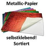 10x coloré métallisé Papier de bricolage | autocollantes | graduations Structure–présentée dans un coffret cadeau/boîte de rangement–2feuilles vert rouge violet turquoise orange