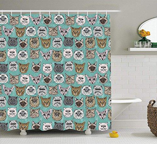 y, Vintage British Siberian Siamese Persian Scottish Fold Bengal Kitty Heads Pop Art Cute Image, Fabric Bathroom Decor Set with Hooks, 66x72 inches Extra Long, Multi ()