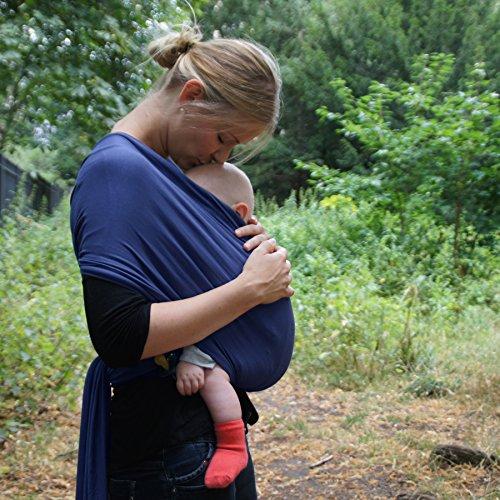 Premium Baby-Tragetuch aus 100% Baumwolle für Neugeborene und Kleinkinder | Hochwertiges Umhängetuch | Elastisches Kindertragetuch mit deutschsprachiger Anleitung für Bindetechniken (Hell-Blau) - 4