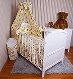 Amilian® Baby Bettwäsche 5tlg Bettset mit Nestchen Kinderbettwäsche Himmel 100x135cm NEU Eule Ecru Vollstoffhimmel