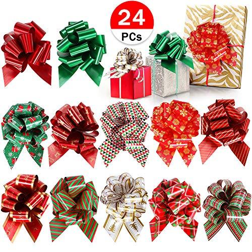 Tacobear 24 Piezas Lazos de Tirar para Embalaje de Regalo Lazos para Decoración Regalos de Navidad, Boda, Arte y Manualidades