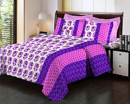 Bombay Dyeing Fair Mist Printed Double Bedsheet - DSN-4 - Poly cotton - 254 cm x 229 cm - Purple  available at amazon for Rs.699
