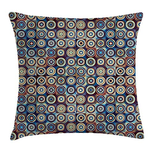 Geometric Throw Pillow Cushion Cover, Modern Ring Formed Round Spiral Vortex Circles in Many Tones Work of Art, Decorative Square Accent Pillow Case, 18 X 18 Inches, Royal Blue Umber