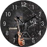 Cl353ll Wanduhr mit Musikinstrumenten, rund, Holz, für Wohnzimmer, Küche, Schlafzimmer, Büro, Schule, Schwarz