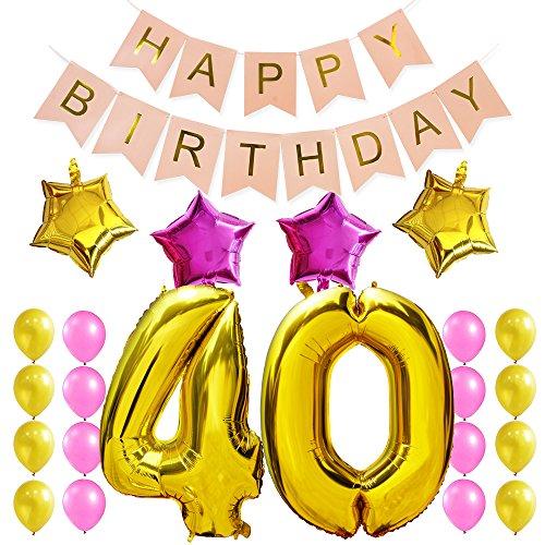 KUNGYO Dulce Fiesta de Cumpleaños Kit Decoraciones Happy Birthday Bandera Rosada Número 40 Mylar Foil Globo Globo de Látex Estrella Partido para el Cumpleaños de 40 Años