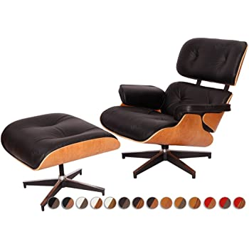 charles eames inspired lounge chair black leather light rosewood