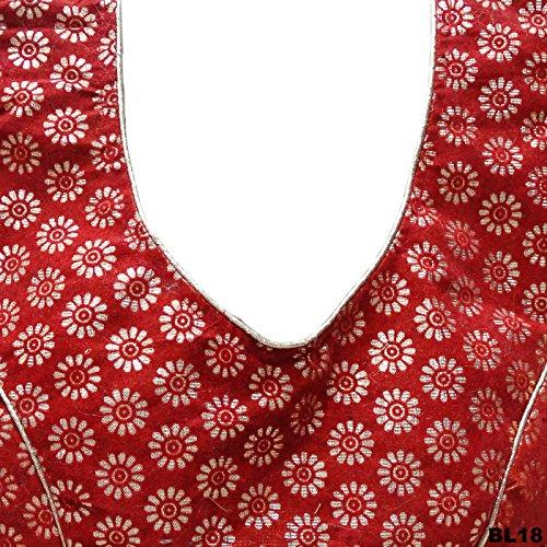 Matrimonio Usura Bassiera Camicetta Donne Indian Sari Pronti Camicette Choli Fatte Cucite Rust Orange & Oro