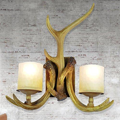 EFFORTINC Rustic Deer Horn Antler Wall Sconce 2 Light Fixtures