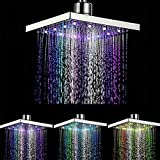 LED Duschkopf Platz 7 Farbwechsel 8 Zoll Chrom-Finish Regen Platz Beleuchtung Badezimmer Dusche Wasserspar Bad Dusche -20Cm*20Cm*1.8Cm