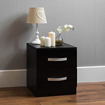 04adc7f399 Home Hulio High Gloss Bedside Cabinet Black, 2 Drawer With Metal Handles &  Runners, Unique Anti-Bowing Drawer Support, Bedroom Furniture