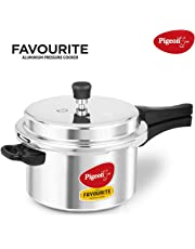 Pigeon By Stovekraft Favourite Induction Base Aluminum Pressure Cooker with Outer Lid, 5 Litres, Silver