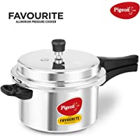 Pigeon By Stovekraft Favourite Induction Base Aluminium Pressure Cooker with Outer Lid, 5 Litres, Silver