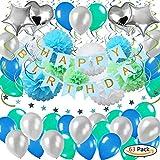 63Pack Geburtstagsdeko, Geburtstag Dekoration, happy birthday girlande, 18. Geburtstag Dekorationen für Mädchen Jungen Männer und Frauen,Einschließlich'ALLES GUTE ZUM GEBURTSTAG' Banne