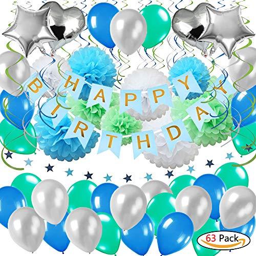YINVA 63Pack Geburtstagsdeko, Geburtstag Dekoration, Happy Birthday Girlande, 18. Geburtstag Dekorationen für Mädchen Jungen Männer und Frauen,Einschließlich Alles Gute ZUM Geburtstag Banner