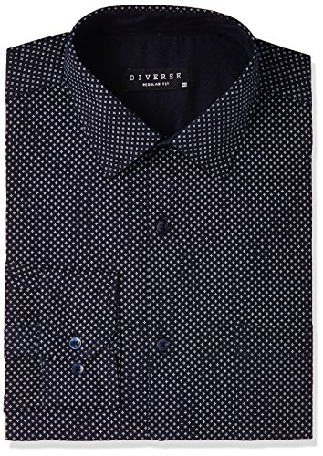 Diverse Men's Printed Regular Fit Cotton Formal Shirt (DVF03F2L01-34-40_Navy_40)