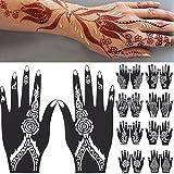 Sanwood - –-Hand Tattoo Aufkleber, 2PCS Henna Schablone temporäre Hand Tattoo Body Arts Aufkleber Vorlage Tools, PVC, weiß/Schwarz, 117