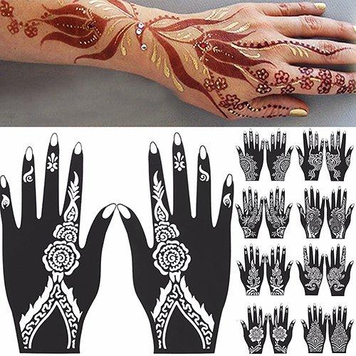 Sanwood - –-Hand Tattoo Aufkleber, 2PCS Henna Schablone temporäre Hand Tattoo Body Arts Aufkleber Vorlage Tools, PVC, weiß/Schwarz, 109