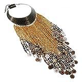Jerollin Dame Halskette Vintage Kette Bib Collier Necklace mit Harz Perlen Statement Ketten Braun Choker Anhänger Kette