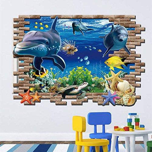 tzxdbh 3D Delphine Wandaufkleber Unterwasserwelt Wohnzimmer Schlafzimmer Wohnkultur Meer Aquarium Delphine Fische Kinderzimmer Blau 50 * 70 cm (Man Fisch Tank Spider)