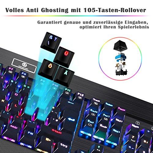 KingTop Mechanisches Gaming Keyboard QWERTZ Tastatur RGB LED Windows MAC Linux Schwarz - 4