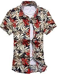 YuanDian Hombres flor grande del tamaño de la camisa de jacquard camisa de manga corta yardas grandes