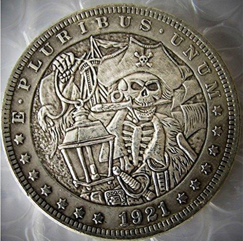 Bespoke Souvenirs Rare Antique USA United States 1921 Morgan Dollar Pirate Captain Skull Zombie Silver Color Coin Seltene Münze -