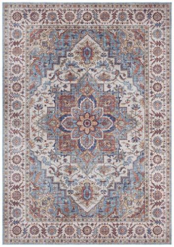 Nouristan Orientalischer Vintage Teppich Anthea Cyanblau, 160x230 cm