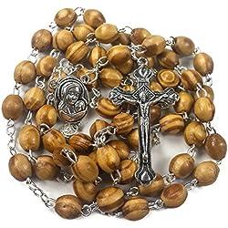 Chapelet en bois d'olivier avec médaille de la Terre Sainte et croix en métal