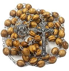 Idea Regalo - Collana con rosario cattolico composto da perline in legno di olivo e croce in metallo