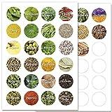 Wandkings Gewürzetiketten Ø 4 cm - 48 Stück kreisförmige Gewürzaufkleber - Etiketten / Sticker / Aufkleber für Gewürze selbstklebend auf 2 DIN A4 Bögen - Schrift 2