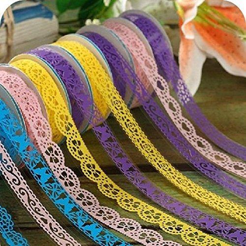 Homgaty 6Rolle Dekorative Sticky Selbstklebend Spitze Washi Tape für Heimwerker Craft