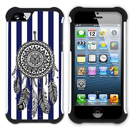 Graphic4You Traumfänger Streifenmuster (Wasserblau) Hart + Weiche Kratzfeste Hülle Case Schale Tasche Schutzhülle für Apple iPhone SE / 5 / 5S Marineblau