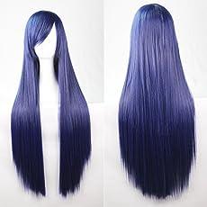 Kissparts 80cm dunkelblau gerade/Glatte Perücke Cosplay Perücke mit Perückenkappe und Kamm