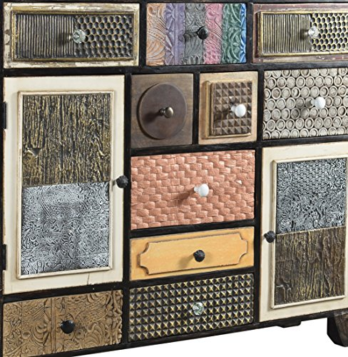The Wood Times Kommode Highboard Schrank Massiv Vintage Look Kalkutta Mangoholz, FSC Zertifiziert, BxHxT 125x110x35 cm - 2