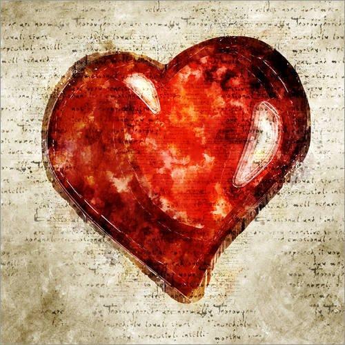 Posterlounge Acrylglasbild 20 x 20 cm: Herz Liebe modern und abstrakt von Michael artefacti - Wandbild, Acryl Glasbild, Druck auf Acryl Glas Bild