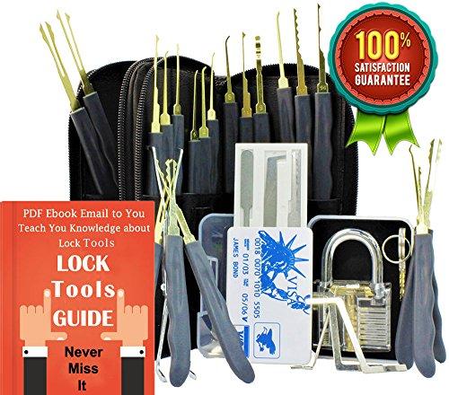 Antool Grau Transparente Vorhängeschloss + 24-Stück Edelstahl Haken Lock Pick-Set mit Kunstleder, Aufbewahrungsbeutel + 5 Stück Kreditkarten-Hüllen. -