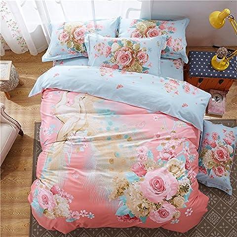 Bettbezug Sets Vier Sets der Baumwolle Twill Quilt Bettwäsche, C, Eastern King