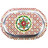 APKAMART Handcrafted Multicolour Oval Steel Tray With Minakari Artwork - 14 Inch - Serving Tray For Utility And Table Decor