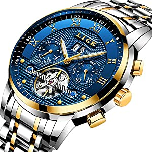 LIGE Watches Mens Fashion Automatic Mechanical Watch Men Waterproof Business Wrist Watch for Men
