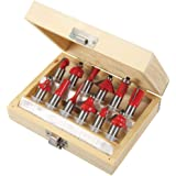 Silverline 251591 Coffret de 12 Fraises à défoncer TCT 12 mm couleur assortie