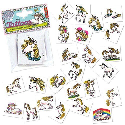 Mini-Tattoo-Set Einhorn, 24-tlg.