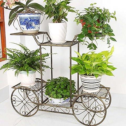 Fer audacieux et créatif balcon salon sol multi-couche vélo six fleurs étagère rack pot ( Couleur : Brass )